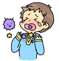 喉が痛くて泣いている子供のイラスト
